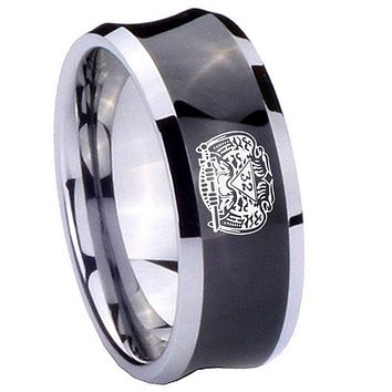 8mm Masonic 32 Degree Freemason Concave Black Tungsten Carbide Mens Ring Engraved