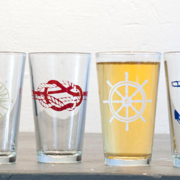 The Nautical set  4 screen printed pint glasses gold by vital