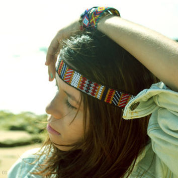 Hippie Headband Headpiece Hair Piece Bohemian Hipster Boho Hippie Demi Tribal Native Aztec Indie Inspired Ribbon Jacquard