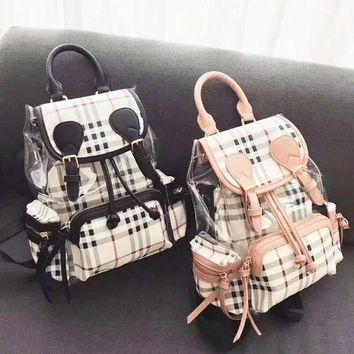 Gotopfashion Burberry Shopping Canvas Plaid Backpack Tote Satchel Shoulder Bag B-AGG-CZDL Black