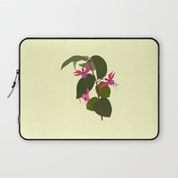 Fuchsia Flowers Laptop Sleeve by Jacqueline Turton Designs
