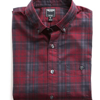 Button-down Collar Shirt in Maroon Plaid
