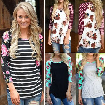 Boho Womens Floral 3/4 Sleeve Shirts Casual Blouse Cotton T-Shirt Tee Top S-3XL