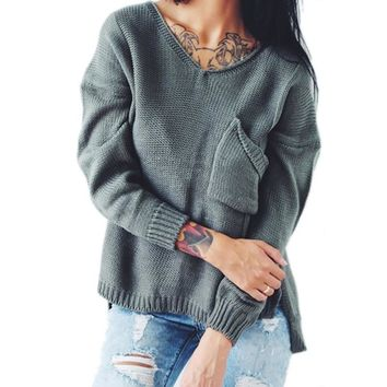 Pullover Knit Tops V-neck With Pocket Hollow Out Split Sweater [11275921351]