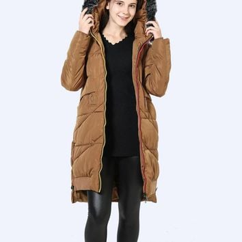 Fashion  Autumn Winter Women Jacket Hooded Faux Fur Down Cotton Padded Coat Long Thick Casual