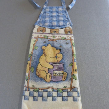 Classic Pooh terry cloth dishcloth, disney pooh bear, classic pooh kitchen towel, cotton kitchen hand towel, teddy bear decor, honey bee