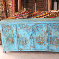 Blue Distressed ARCHED Door Sideboard Antique Indian Console Rustic Chest Buffet Cabinet Storage Commercial Design
