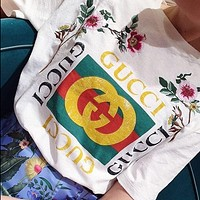 GUCCI Fashion printing embroidery letters short sleeve blouse