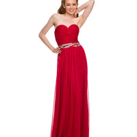 Red Gathered Knot Strapless Sweetheart Dress 2015 Homecoming Dresses