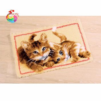 Carpet embroidery mat for bathroom Hook Rug Kit DIY Unfinished Crocheting Yarn Mat Latch Hook Rug Kit Threads for embroidery
