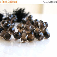 51% Off Smoky Quartz Briolette Gemstone Champagne Chocolate Brown Faceted 3d Teardrop 17.5mm 2 beads