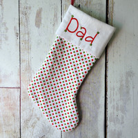 PERSONALISED CHRISTMAS STOCKING - Red and Green Spots Design - You Choose The Font  & Embroidery Colour - Customised To Your Preference