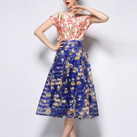 Blue Floral Mesh A-Line Pleated Midi Skirt