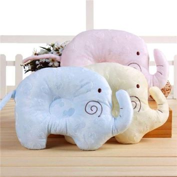 Soft Cotton Sleep Elephant Head Anti-rollover Positioning Pillow Protection for Newborn