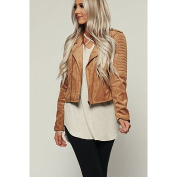 Stay Here Faux Suede Moto Jacket (Taupe)