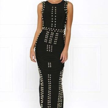 Rocker Girl Beaded Bandage Midi Dress