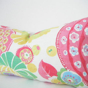 Bright, Tropical Decorative Designer Pillow Cover, Lumbar Pillow, Hot Pink, Lemon Yellow, Lime Green, and Light Blue Pillow Cushion