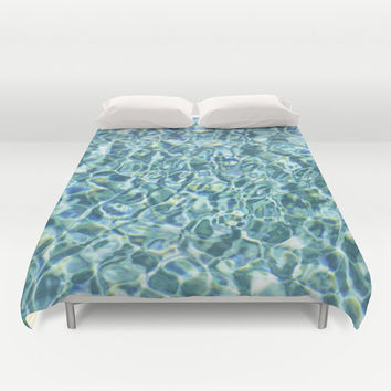 Duvet Cover, Aqua Blue Pool Water Bedroom Bedding Cover, Loft Nautical Decor, Coastal Living Interiors, King & Queen Size, Boho Hippie Chic
