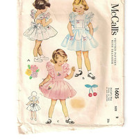 1951 Vintage Sewing Pattern, Child's Pinafore with Detachable Petticoat, Size 2, McCall's Pattern 1605, Full Circle Skirt