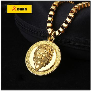 MTX925 Gold color Lion Head pendants High Quality Fashion Hiphop franco long necklaces for men bijouterie new 2016