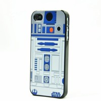 Black Snap On Case IPHONE 4 4s Plastic Cover - Star Wars R2D2 Robot Pattern + Screen Protector