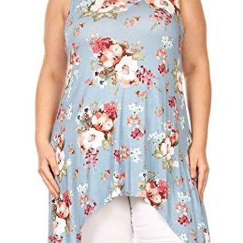 Fashion Stream Womens Plus Size Floral amp Solid Casual Tunic Shirt Top Made in USA