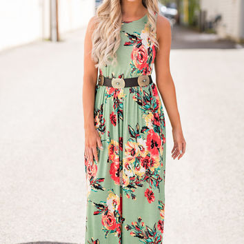 In The Meadow Cinched Waist Floral Maxi Dress (Sage)