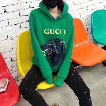 DCCKXT7 Gucci' Casual Fashion Letter Print Wolf Head Pattern Embroidery Long Sleeve Hooded Sweater Women Hoodie Tops