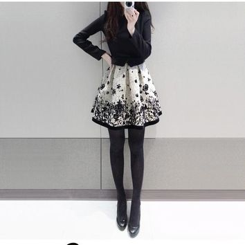 2017 new design girls casual Japanese style slim dresses women's Korean black flower elegant dresses school girls dress XL #L333