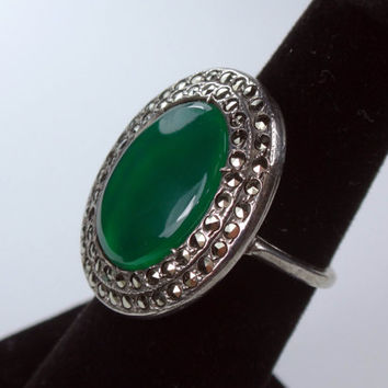 Vintage Sterling Silver Green Stone Ring Vintage Marcasite Ring Sterling Silver Ring Large Emerald Color Stone Statement Ring Sterling Ring