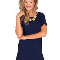 It Girl Navy Scallop Dress | Monday Dress Boutique