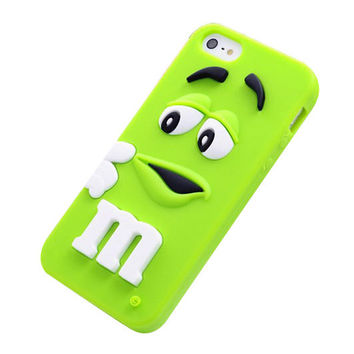 M&M's Chocolate Beans Soft Silicon Phonecase for iPhone 5c (Green).