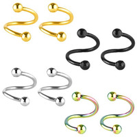 Charisma Stainless Steel Ball Spiral Twister Belly Button Navel Rings 4 Pairs Set