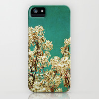 White Blossoms on Teal Blue Green iPhone & iPod Case by Brooke Ryan Photography