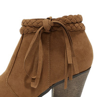 A Rare Braid Chestnut Brown Suede Booties
