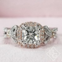 "Kirk Kara ""Mini-Pirouetta"" Princess Cut Halo Diamond Engagement Ring"