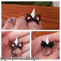 LIMITED RUN; OOAK Black and White unicorn ear and horn adjustable ring.