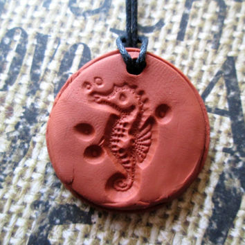 Seahorse Animal Necklace, Aromatherapy Jewelry, Essential Oil Diffuser, Terra Cotta Clay Pendant, Sea Creature