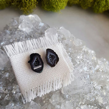 Geode Druzy Earrings | Natural Crystal Studs | Raw Crystal Jewelry | Bridal Jewelry | Black Baby Geodes | Gemstone Studs | White Druzy Studs