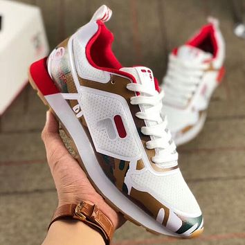 FILA x AAPE joint summer camouflage sports casual breathable mesh running couple shoes F-AA-SDDSL-KHZHXMKH White