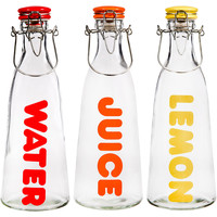 Water, Juice, & Lemon Bottles, Set of 3, Pitchers & Carafes