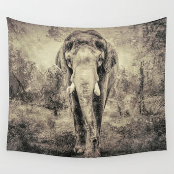 Lone Elephant Wall Tapestry by Theresa Campbell D'August Art