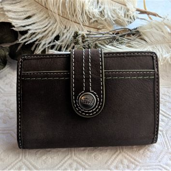 FOSSIL 'What Vintage Are You' Brown Lime Wallet