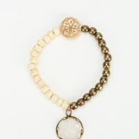 Natural Beaded Stretch Bracelet - Urban Outfitters