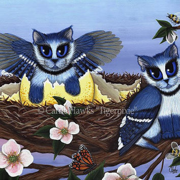 Cat Art Blue Jay Kittens Cat Painting Bluejay Bird Cats Fairy Winged Cat Fantasy Cat Art Print 8x10 Cat Lovers Art