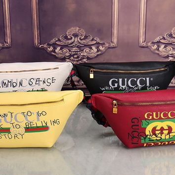 """Gucci"" Women Chest Bag Fashion Personality Casual Graffiti Letter Pattern Single Shoulder Messenger Bag Waist Bag"