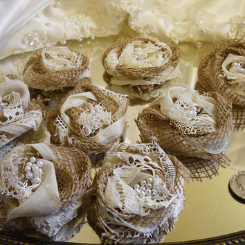 "10 Handmade Natural Burlap & Ivory Lace Flowers for weddings, bouquet making, wedding decor, scrapbooking, gifts, crafts ""READY TO SHIP"""