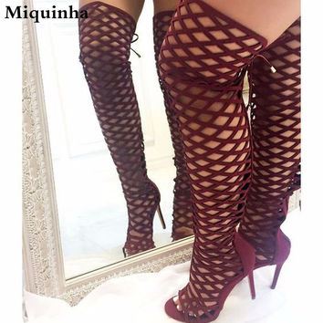 Hot Sale Women New Fashion Open Toe Suede Leather Cage Design Over Knee Gladiator Boots Cut-out High Heel Long Boots