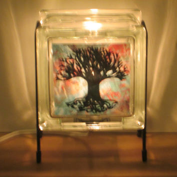 Night Light FREE SHIPPING Eco-Friendly Tree of Life handmade glass block Glowblock lamp upcycled decor, green gift