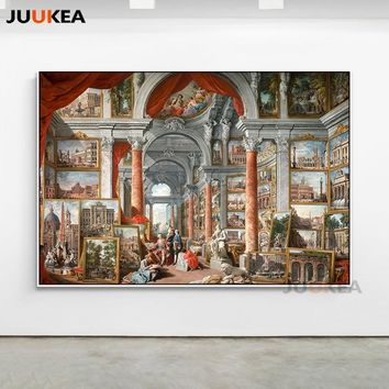 Picture Gallery with Views of Modern Rome by Giovanni Paolo Panini Canvas Print Painting Glciee Wall Art Home Decor Large Size